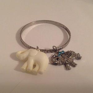 Silver Tone Elephant Charms Bangle Bracelet